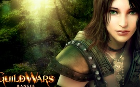 Picture girl, nature, the game, guild wars, green eyes, ranger
