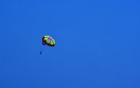 Picture the sky, sport, minimalism, skydiver, in blue
