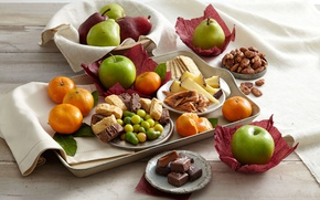 Picture swipe, apples, tablecloth, bread, chocolate, fruit, sweet table, tangerines, cheese, pear, tray, cookies, candy, sweets