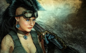 Picture Mohawk, weapons, tattoo, art, piercing, blade, knife, girl, sword, glasses, cyberpunk, tattoo