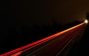 Wallpaper road, light, night, trail