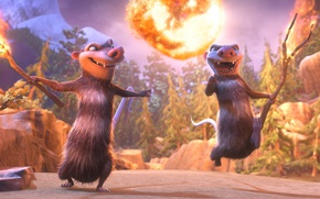 Picture cinema, Ice Age, Crash, wallpaper, fire, flame, ice, forest, snow, movie, animal, hair, ice age, …