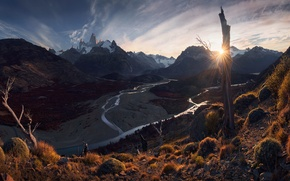 Picture the sun, trees, mountains, river, vegetation, slope, Andes, Patagonia, Wallpaper from lolita777