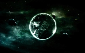 Wallpaper the moon, planet, black