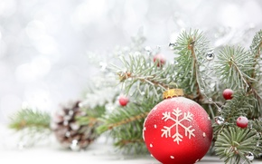 Picture frost, branches, red, glare, holiday, toy, ball, New year, needles, bokeh