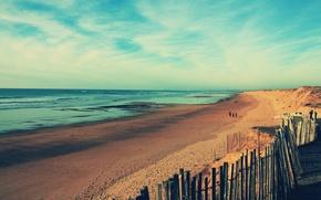 Wallpaper walk, shore, people, beach, coast, sand, sea, the fence, wave, the ocean