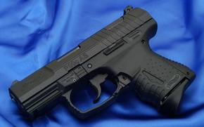 Picture gun, blue, fabric, walther p99 compact