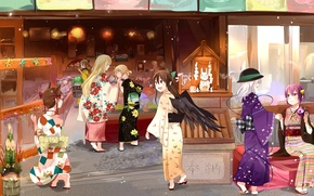 Picture anime, art, girl, shop, kimono, shop
