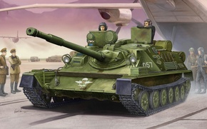 Picture art, the airfield, installation, self-propelled, artillery, SAU, Airborne, easy, tank, database, Of the Soviet Union., …
