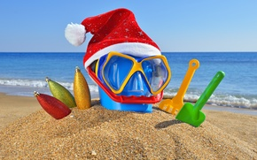 Wallpaper glasses, holiday, toys, Christmas, cap, bucket, beach, sand, sea, new year, new year, the ocean, ...