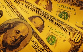 Picture money, dollars, yellow background