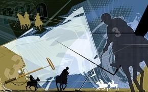 Picture field, collage, Wallpaper, horse, the ball, vector, silhouette, stick, Polo, 2014, Polo