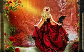 Picture leaves, girl, trees, flowers, bird, hair, back, rose, train, art, blonde, corset, Raven, red dress, ...