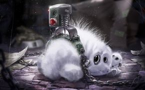 Picture white, toy, web, dust, fluffy, rabbit, art, leaves, animal, records, chain, Bunny, prisoner, button, torture