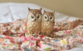 Picture fabric, owls, figures