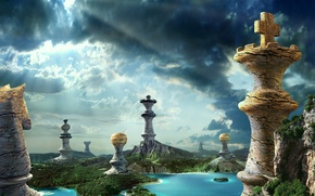 Wallpaper forest, the sky, nature, lake, stone, waterfall, chess, chess pieces