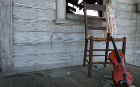 Picture house, music, violin, chair