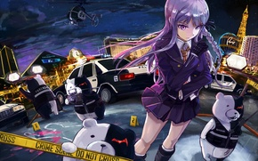 Picture girl, blood, police, anime, murder, art, girl, night city, detective, anime, Vegas, crime, I monok, …