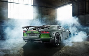 Picture Lamborghini, Green, Smoke, LP700-4, Aventador, 2014, Limited, Rear, HAMANN