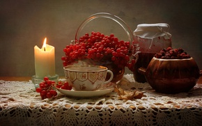 Picture jam, fruit, candle, briar, still life, berries, vase, Bank, Cup, Kalina, table, sheet