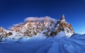 Picture winter, the sky, snow, landscape, nature, rocks, Mountains
