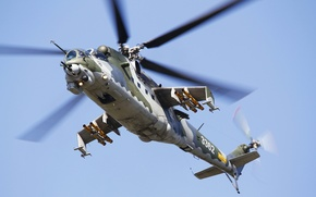 Picture flight, helicopter, combat, blades, Mi-24