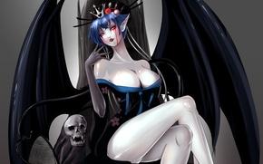 Picture demon, sake, cleavage, female