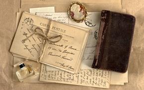 Picture retro, perfume, medallion, Notepad, vintage, vintage, letters