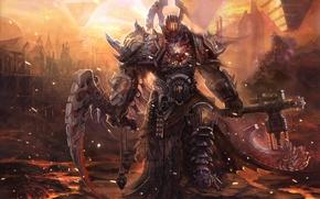 Picture the demon, warrior, art, armor, axe
