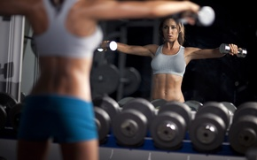 Picture woman, mirror, workout, fitness, dumbbells