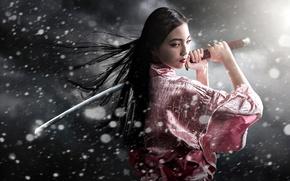 Picture snow, sword, kimono, May, Samurai Girl