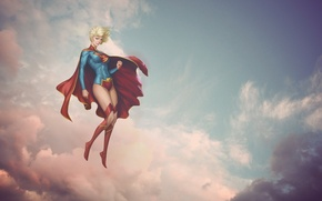 Picture girl, clouds, pink, supergirl