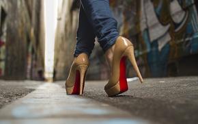 Picture macro, street, shoes, boots, shoes, boots, platform