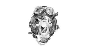Picture strap, helmet, skull, beetle, knife, glasses
