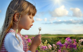 Picture summer, the sky, clouds, flowers, nature, children, childhood, girls, child, roses, summer, happy, sky, nature, …