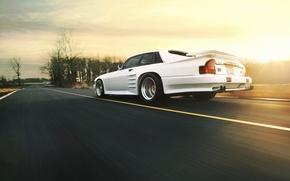 Picture road, white, speed, Jaguar, Jaguar, white, rear, XJS