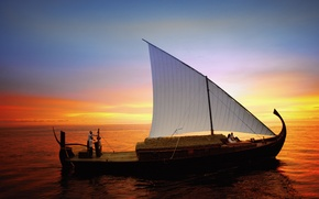 Picture the ocean, boat, the evening, sail, The Maldives, walk