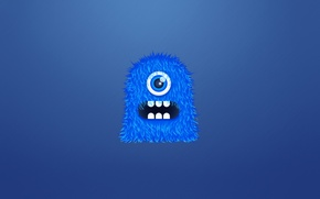 Picture blue, monster, hairy, monster, crank, one-eyed, toothy