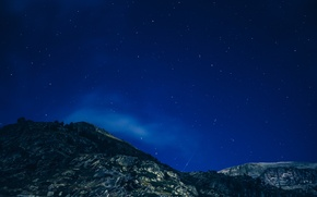 Picture space, sky, nature, clouds, mountain, stars, cosmos, night photography