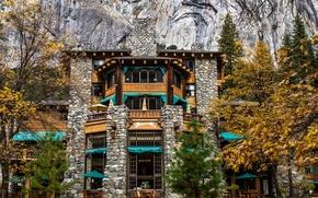 Picture autumn, trees, rocks, CA, USA, the hotel, Yosemite, California, Yosemite National Park, Ahwanhnee Hotel