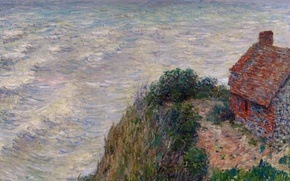 Picture sea, wave, picture, seascape, Claude Monet, Fisherman's House in Petit-Aili