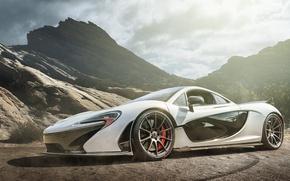 Picture white, mountains, McLaren, supercar, white, supercar, McLaren