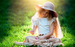 Picture the sun, girl, hat, child photography, The beauty