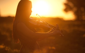 Picture girl, sunset, violin, profile, musical instrument