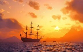 Wallpaper sea, boats, the sky, ship