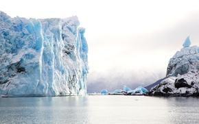 Picture ice, snow, stones, the ocean, shore, iceberg, Argentina, Patagonia
