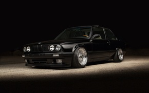 Picture BMW, black, E30, stance, BBS rs