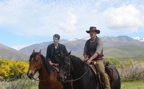 Picture mountains, horses, hat, plain, cowboy, riders, Western, Michael Fassbender, Michael Fassbender, Kodi Smit-McPhee, Slow West, …