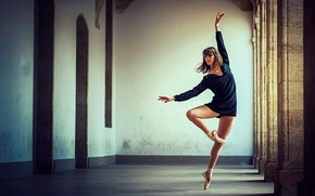 Picture grace, ballerina, position, Pointe shoes