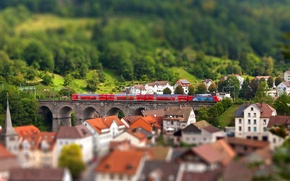Picture tilt shift, home, Europe, the city, train